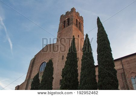 Italy Siena - December 26 2016: the view of Basilica Cateriniana of San Domenico on December 26 2016 in Siena Tuscany Italy.