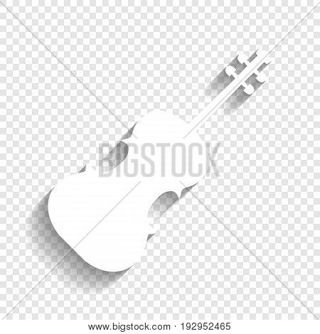 Violin sign illustration. Vector. White icon with soft shadow on transparent background.