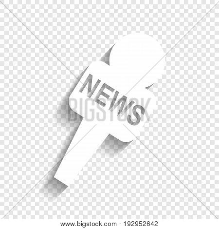 TV news microphone sign illustration. Vector. White icon with soft shadow on transparent background.