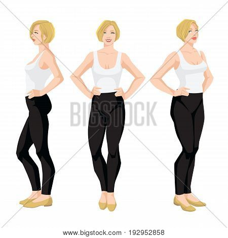 Vector illustration of blonde woman in casual clothes on white background. Various turns woman's figure. Front view and side view.