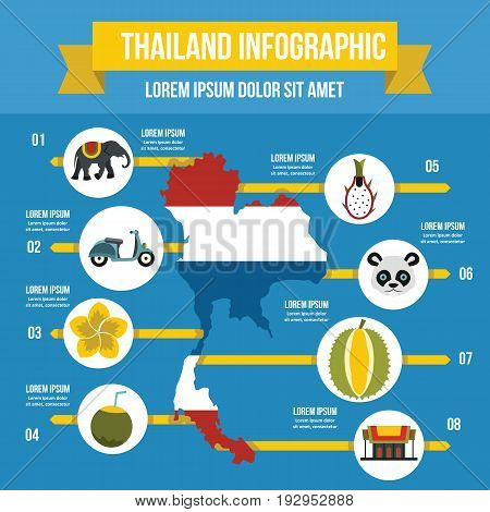 Thailand travel infographic banner concept. Flat illustration of Thailand travel infographic vector poster concept for web