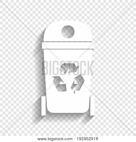 Trashcan sign illustration. Vector. White icon with soft shadow on transparent background.