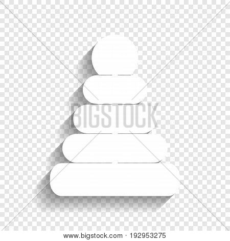 Pyramid sign illustration. Vector. White icon with soft shadow on transparent background.