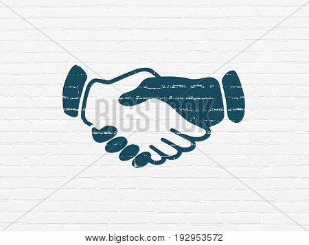 Political concept: Painted blue Handshake icon on White Brick wall background