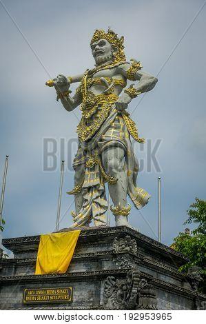 BALI, INDONESIA - MARCH 08, 2017: Stone statue of Vishnu in Gunung Kawi, Bali, Indonesia