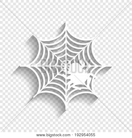Spider on web illustration. Vector. White icon with soft shadow on transparent background.