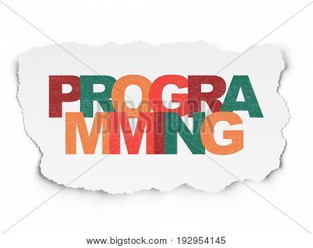 Programming concept: Painted multicolor text Programming on Torn Paper background