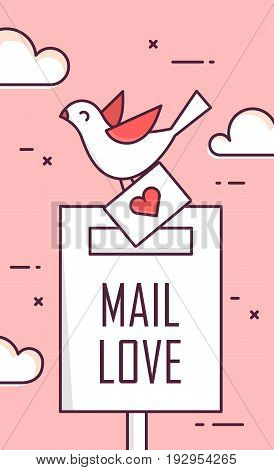 Background with mail love dove and envelope. Thin line flat design greeting card. Vector.