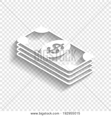 Bank Note dollar sign. Vector. White icon with soft shadow on transparent background.