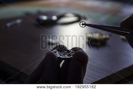 A watch maker is repairing a vintage automatic watch.