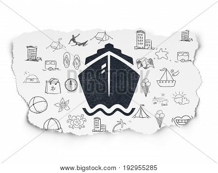 Travel concept: Painted black Ship icon on Torn Paper background with  Hand Drawn Vacation Icons