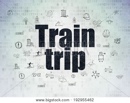 Tourism concept: Painted black text Train Trip on Digital Data Paper background with  Hand Drawn Vacation Icons
