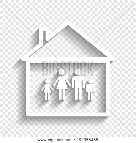 Family sign illustration. Vector. White icon with soft shadow on transparent background.