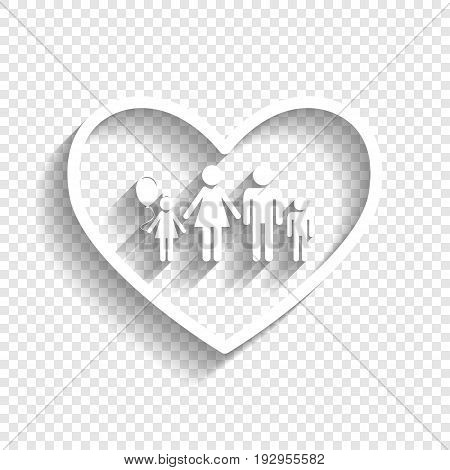 Family sign illustration in heart shape. Vector. White icon with soft shadow on transparent background.