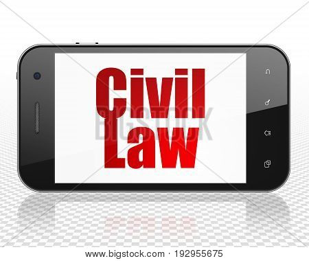 Law concept: Smartphone with red text Civil Law on display, 3D rendering