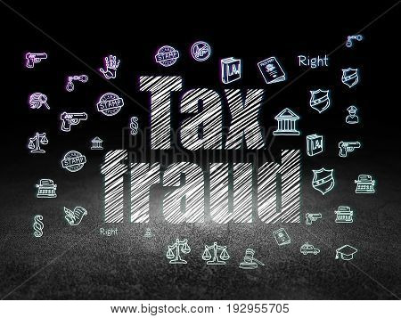Law concept: Glowing text Tax Fraud,  Hand Drawn Law Icons in grunge dark room with Dirty Floor, black background
