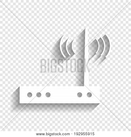 Wifi modem sign. Vector. White icon with soft shadow on transparent background.