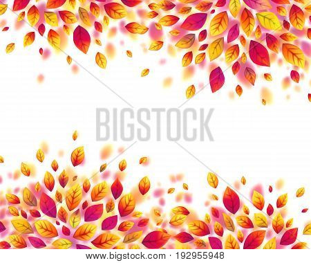 Red autumn fall leaves vector frame isolated on white background