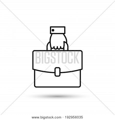 Hand with briefcase line icon vector isolated outline illustration.