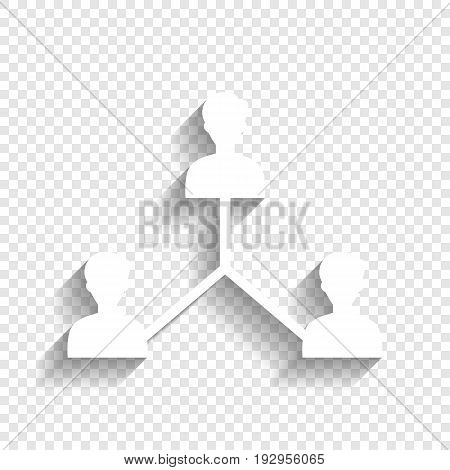 Social media marketing sign. Vector. White icon with soft shadow on transparent background.