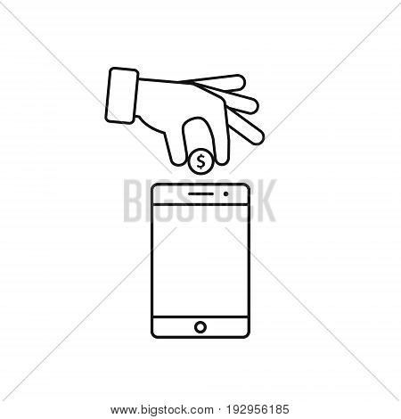 Hand put coin in phone icon. Billing funding your account phone line icon. Vector illustration.