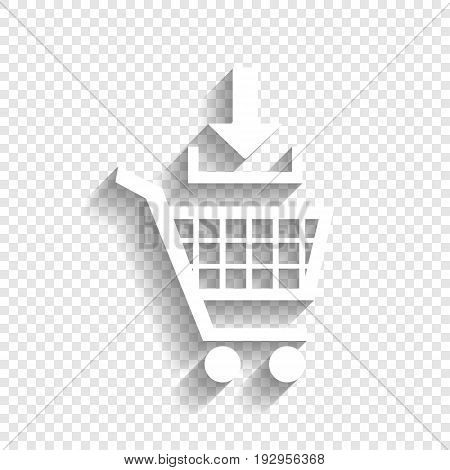 Add to Shopping cart sign. Vector. White icon with soft shadow on transparent background.