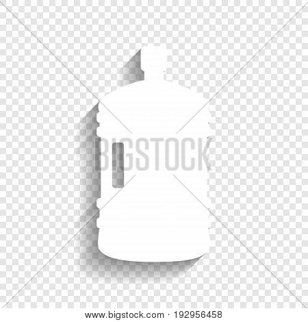Plastic bottle silhouette sign. Vector. White icon with soft shadow on transparent background.