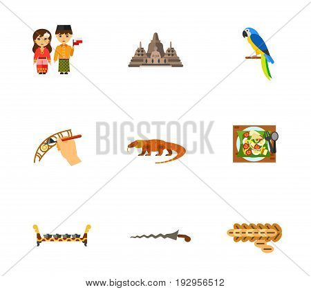 Indonesia icon set. Indonesian National Dress Borobudur Parrot Creating Traditional Batik Canting Komodo Dragon Salad Bonang Kris Dagger Kopi Luwak