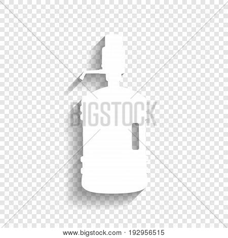 Plastic bottle silhouette with water and siphon. Vector. White icon with soft shadow on transparent background.