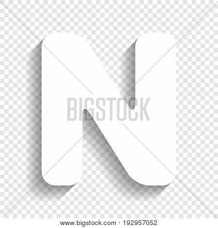 Letter N sign design template element. Vector. White icon with soft shadow on transparent background.