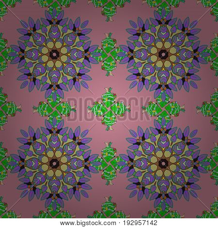 Geometric circle element in glod colors. Vector Round Ornament Pattern. Spiritual and ritual symbol of Islam Arabic Indian religions. Mandala on background.