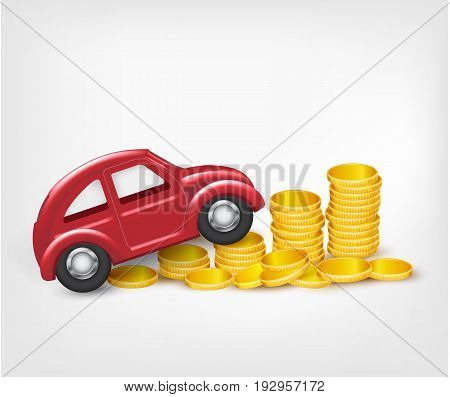 Red model car with gold coins. Vector