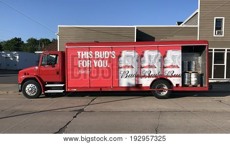 Spencer WisconsinJune 27 2017 Budweiser delivery truck delivering beer to a Tavern.