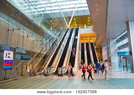 Escalators At Changi Airport, Singapore