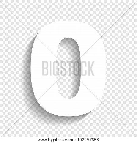 Number 0 sign design template element. Vector. White icon with soft shadow on transparent background.