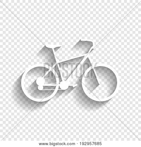 Bicycle, Bike sign. Vector. White icon with soft shadow on transparent background.