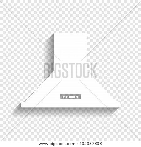 Exhaust hood. Kitchen ventilation sign. Vector. White icon with soft shadow on transparent background.