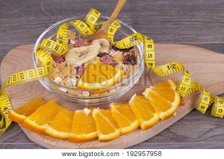 Musli And Orange Are Cut Into Pieces