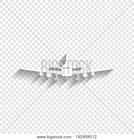 Flying Plane sign. Front view. Vector. White icon with soft shadow on transparent background.
