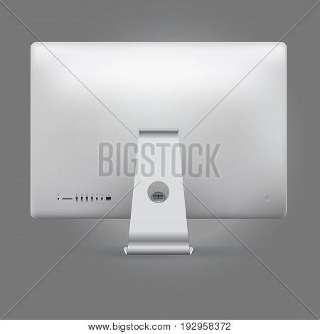 Realistic device mock up computer backside vector illustration.