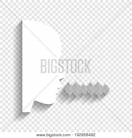 People speaking or singing sign. Vector. White icon with soft shadow on transparent background.