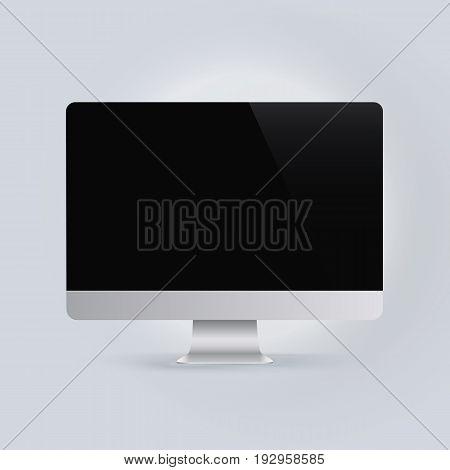 Realistic device mockup computer monitor vector illustration.