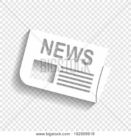 Newspaper sign. Vector. White icon with soft shadow on transparent background.