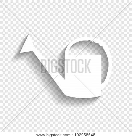 Watering sign. Vector. White icon with soft shadow on transparent background.