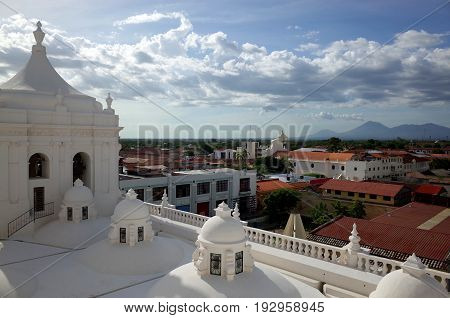 The View From The Roof Of Leon Cathedral In Nicaragua, The Biggest Cathedral In Central America
