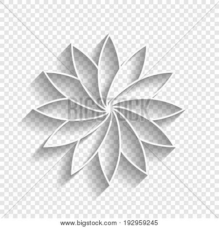 Flower sign. Vector. White icon with soft shadow on transparent background.