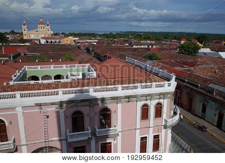 A View Of Granada Cathedral From The Bell Tower Of The Iglesia De Merced In Nicaragua