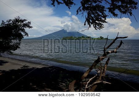 A View Of Volcan Maderas From The Black Volcanic Sand Beach Of Isla Ometepe
