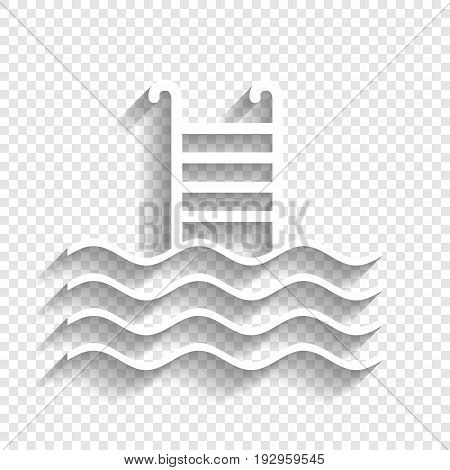 Swimming Pool sign. Vector. White icon with soft shadow on transparent background.