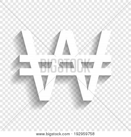 Won sign. Vector. White icon with soft shadow on transparent background.